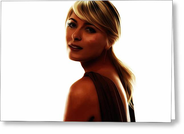 French Open Mixed Media Greeting Cards - Maria Sharapova 5c Greeting Card by Brian Reaves