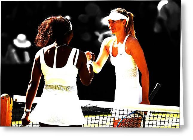 Maria Sharapova And Serena Williams Rivalry Greeting Card by Brian Reaves