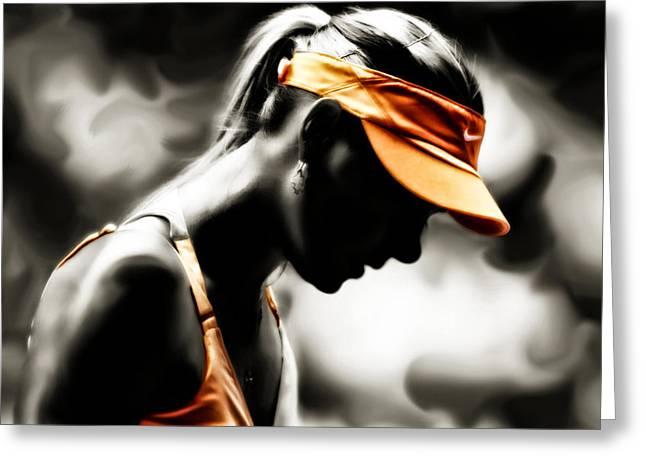 Maria Sharapova Deep Focus Greeting Card by Brian Reaves