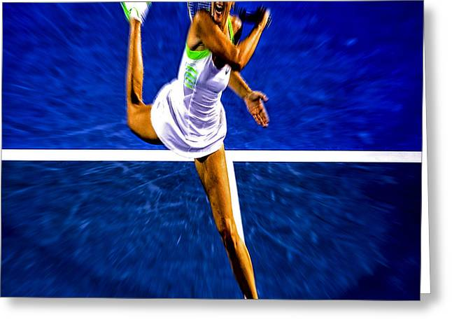Maria Sharapova In Motion Greeting Card by Brian Reaves