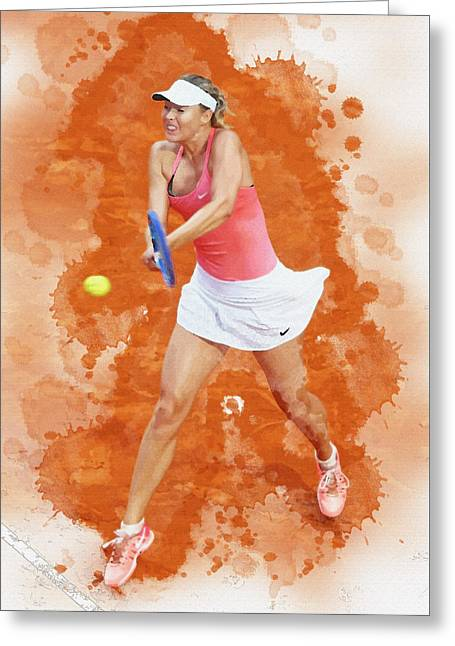 Maria Sharapova Of Russia Celebrates After Winning Greeting Card by Don Kuing