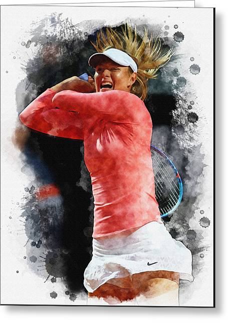 Maria Sharapova Of Russia In Action Greeting Card by Don Kuing