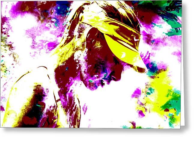 Maria Sharapova Paint Splatter 4c Greeting Card by Brian Reaves