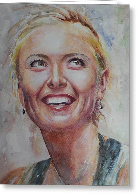 French Open Paintings Greeting Cards - Maria Sharapova - Portrait 3 Greeting Card by Baresh Kebar - Kibar