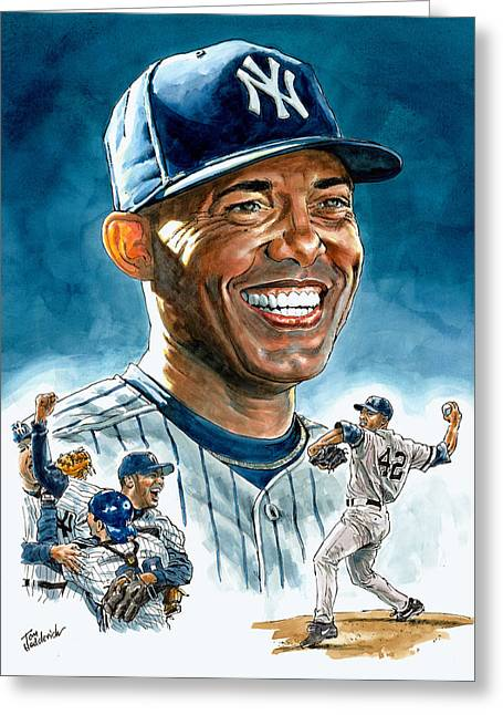 Baseball Prints Greeting Cards - Mariano Greeting Card by Tom Hedderich