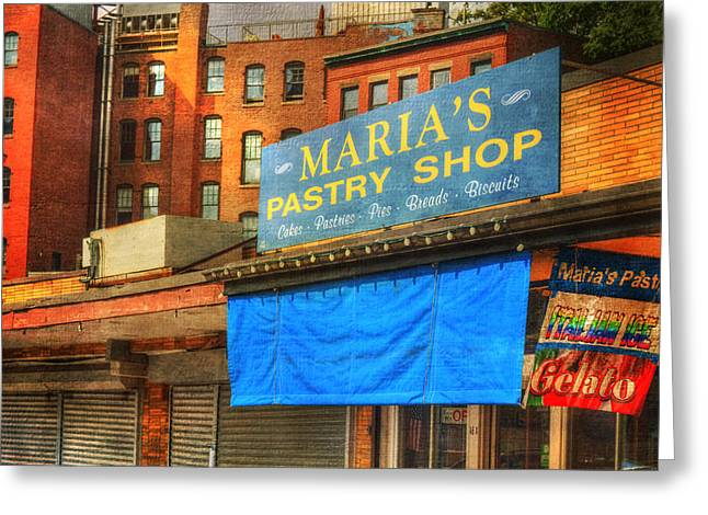 Boston Greeting Cards - Marias Pastry - Boston Greeting Card by Joann Vitali