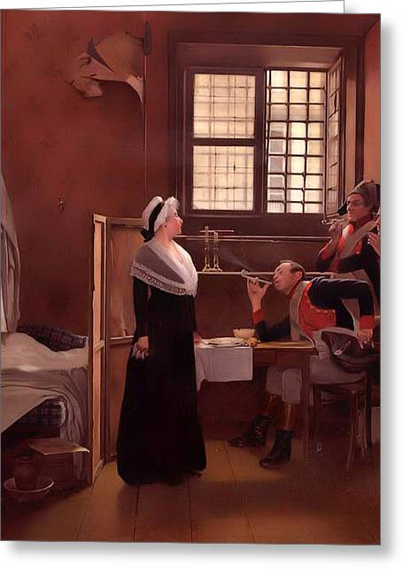Jail Paintings Greeting Cards - Marie Antoinette Under Arrest Greeting Card by Oscar Rex