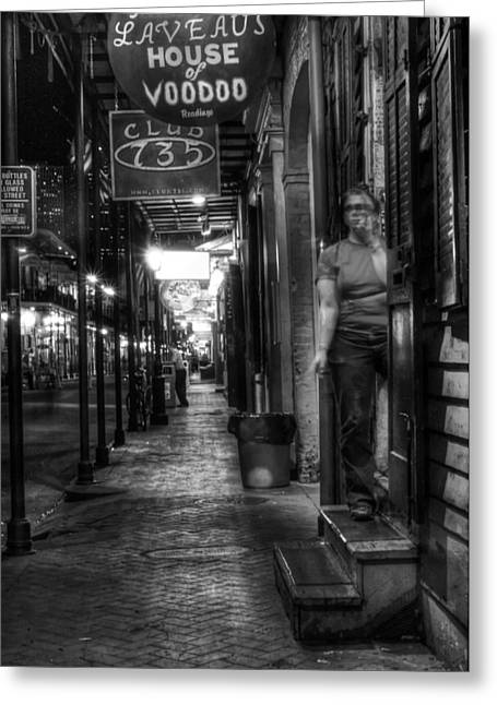 New Greeting Cards - Marie Laveaus House of Voodoo at Night in Black and White Greeting Card by Greg Mimbs