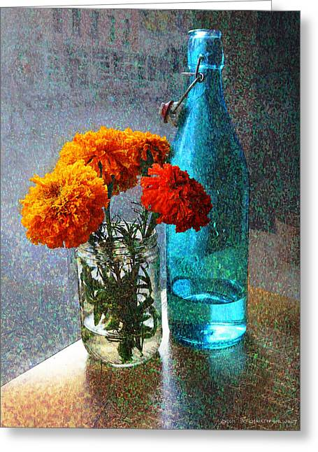 Marigolds Cafe Tabletop Greeting Card by R christopher Vest