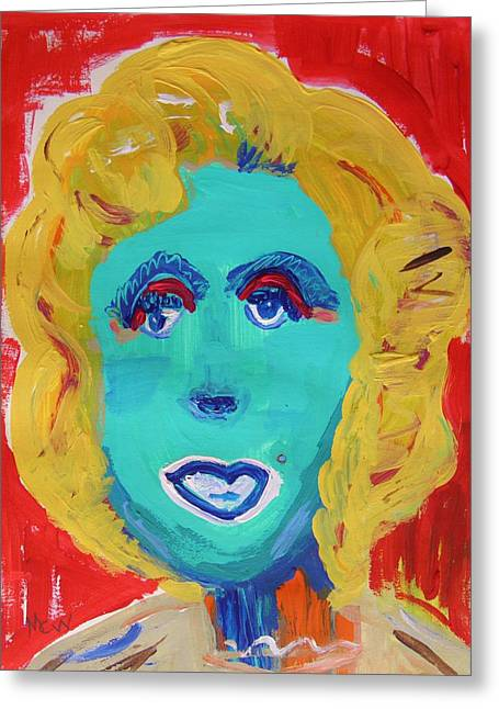 Vivid Colour Drawings Greeting Cards - Marilyn M -Pink Shadow Greeting Card by Mary Carol Williams