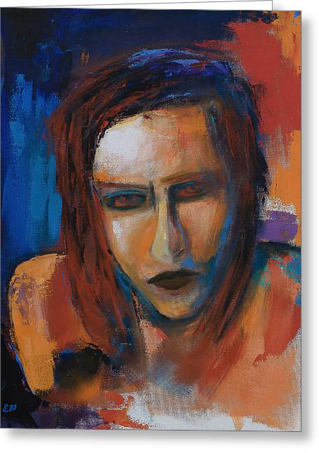 Singer Paintings Greeting Cards - Marilyn Manson Greeting Card by Elise Palmigiani