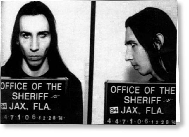 Marilyn Manson Mug Shot Horizontal Greeting Card by Tony Rubino