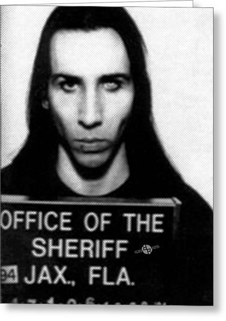 Jail Paintings Greeting Cards - Marilyn Manson Mug Shot Vertical Greeting Card by Tony Rubino
