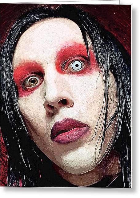 Rocks Greeting Cards - Marilyn Manson Greeting Card by Taylan Soyturk