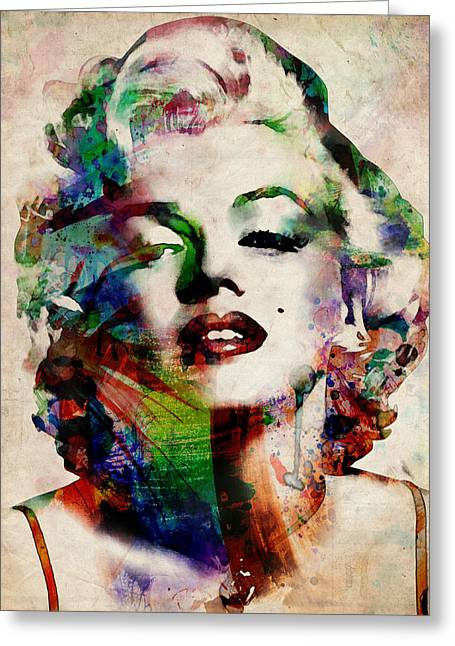 Film Watercolor Greeting Cards - Marilyn Greeting Card by Michael Tompsett