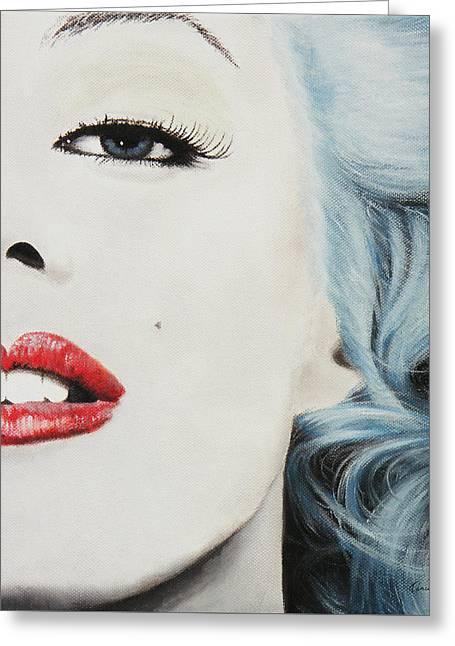 Marilyn Monroe Blue Greeting Card by Kathleen Wong