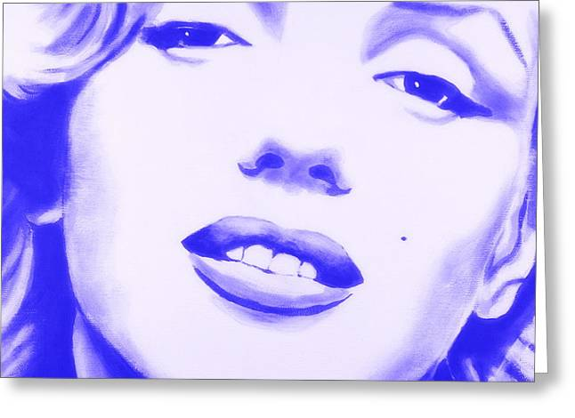 Norma Jean Greeting Cards - Marilyn Monroe - Blue Tint Greeting Card by Bob Baker