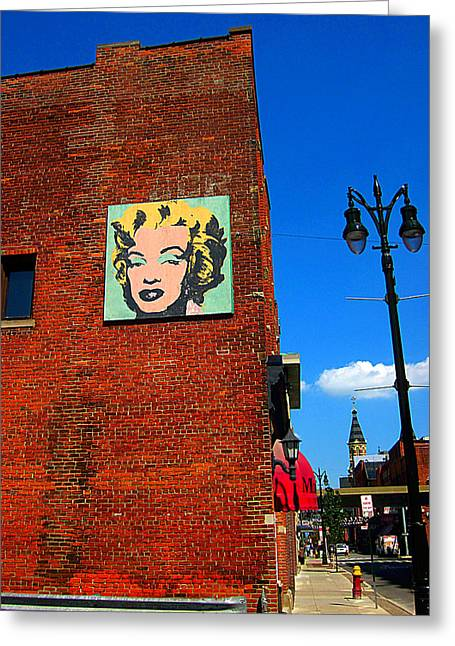 Guy Ricketts Greeting Cards - Marilyn Monroe in Detroit Greeting Card by Guy Ricketts