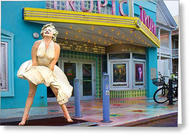 Classic Hollywood Photographs Greeting Cards - Marilyn Monroe in front of Tropic Theatre in Key West Greeting Card by David Smith