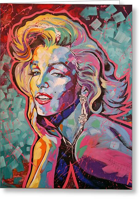 Classic Hollywood Paintings Greeting Cards - Marilyn Monroe Greeting Card by Jay V Art