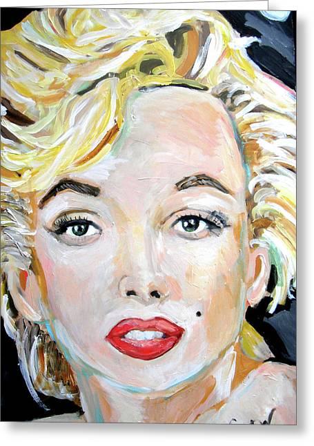 Norma Jean Paintings Greeting Cards - Marilyn Monroe Greeting Card by Jon Baldwin  Art
