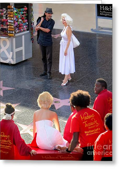 Dress Greeting Cards - Marilyn Monroe on Hollywood Boulevard Greeting Card by Jennie Breeze