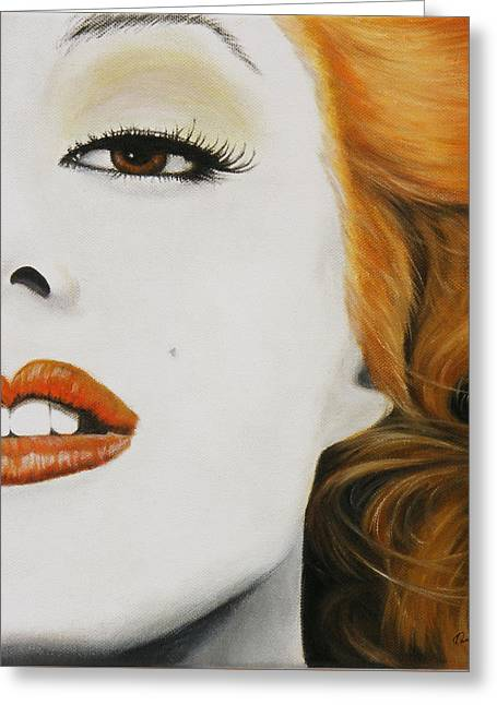 Marilyn Monroe Orange Greeting Card by Kathleen Wong