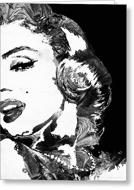Pop Icon Paintings Greeting Cards - Marilyn Monroe Painting - Bombshell Black And White - By Sharon Cummings Greeting Card by Sharon Cummings