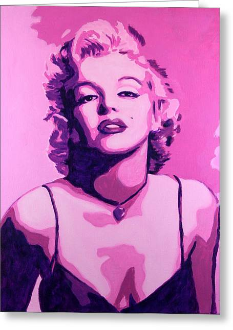 Norma Jean Greeting Cards - Marilyn Monroe - Pink Greeting Card by Bob Baker
