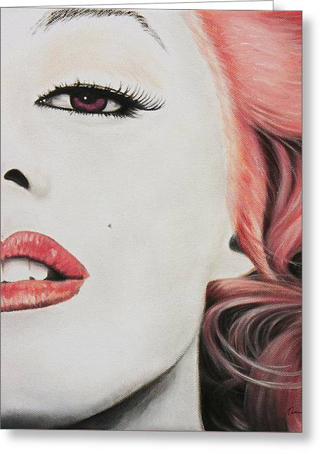 Marilin Greeting Cards - Marilyn Monroe Pink Greeting Card by Kathleen Wong