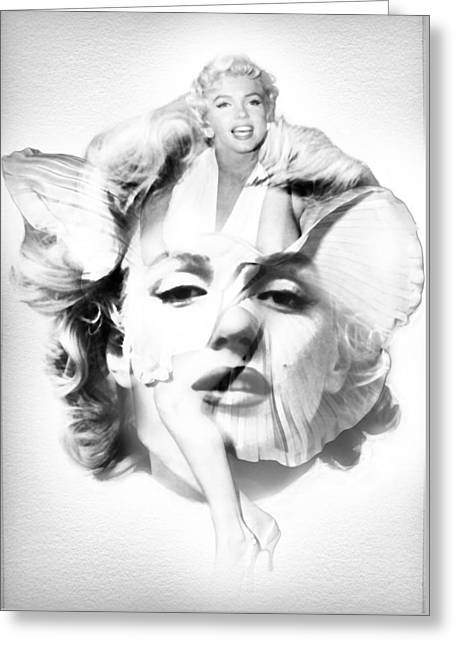 Dumb And Dumber Greeting Cards - Marilyn Monroe Portrait in Black and White Greeting Card by Nostalgic Art