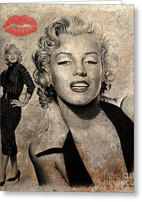 Marilyn Monroe Red Lips Edition Greeting Card by Andrew Read