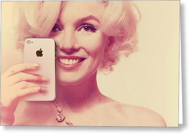 1960 Mixed Media Greeting Cards - Marilyn Monroe Selfie 1 Greeting Card by Tony Rubino