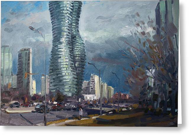 City Buildings Paintings Greeting Cards - Marilyn Monroe Towers Mississauga Greeting Card by Ylli Haruni
