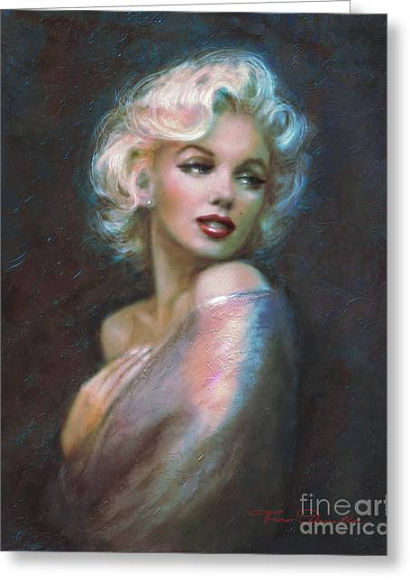 Monroe Greeting Cards - Marilyn romantic WW dark blue Greeting Card by Theo Danella