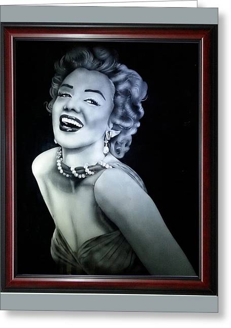 Hand Made Glass Greeting Cards - Marilyn Smile Greeting Card by Harish Dewani