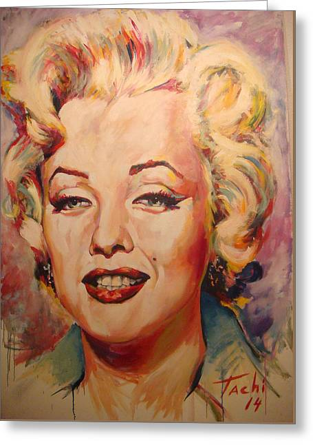 People Paintings Greeting Cards - Marilyn Greeting Card by Tachi Pintor