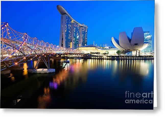 Helix Greeting Cards - Marina Bay Sand Greeting Card by Yew Kwang