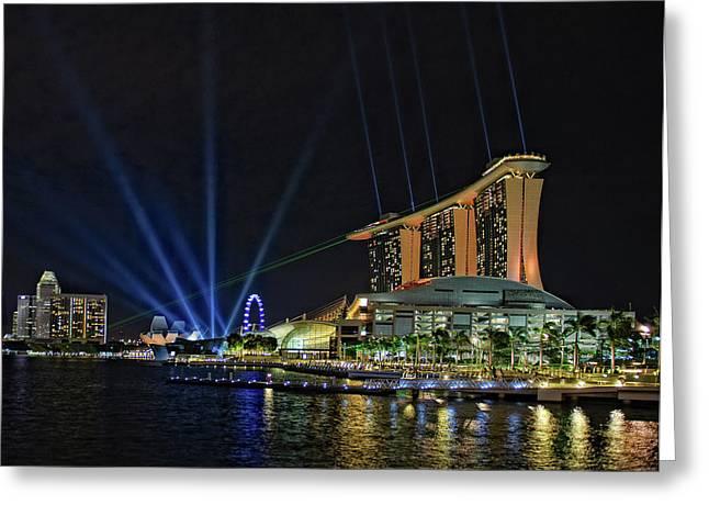 Fullerton Greeting Cards - Marina Bay Sands at Night Greeting Card by Paul W Sharpe Aka Wizard of Wonders
