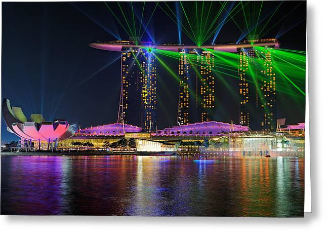 Singapore Greeting Cards - Marina Bay Sands Lasershow Greeting Card by Martin Fleckenstein