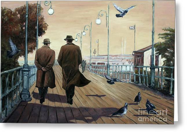 Film Noir Paintings Greeting Cards - Marina Broadwalk Greeting Card by Theo Michael