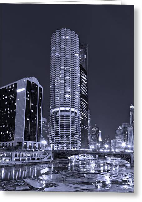 Marina Night Greeting Cards - Marina City on the Chicago River in B and W Greeting Card by Steve Gadomski