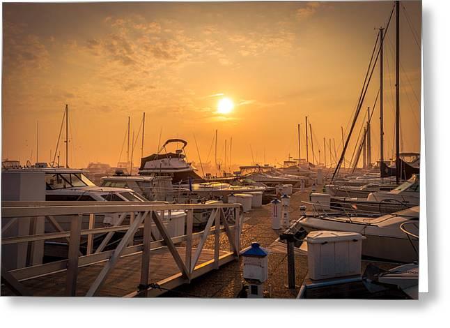 Docked Sailboats Greeting Cards - Marina Dawn Greeting Card by James  Meyer