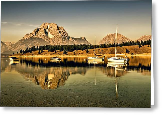 Docked Sailboats Greeting Cards - Marina Greeting Card by Maria Coulson