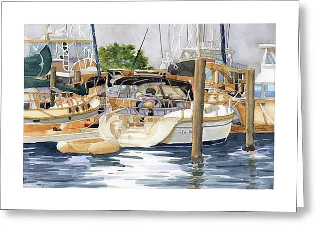 Docked Boats Greeting Cards - Marina Matrix Greeting Card by Dick Dee