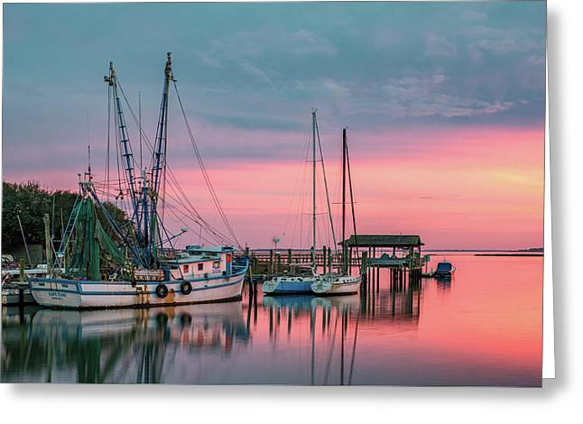 Fishing Creek Greeting Cards - Marina Sunset Greeting Card by Drew Castelhano
