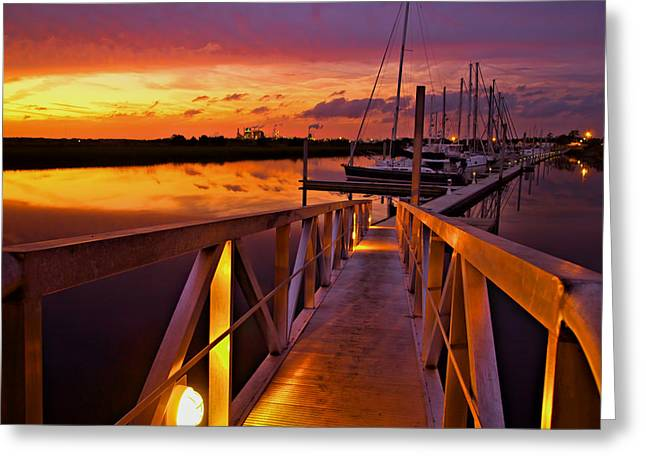 Docked Sailboat Greeting Cards - Marina Sunset Greeting Card by Laura Ragland