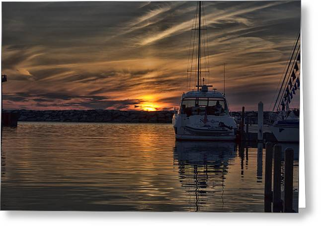 Masts Greeting Cards - Marina Sunset Greeting Card by Ron Grafe