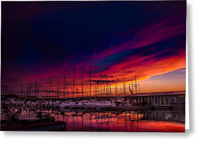 Masts Greeting Cards - Marina Sunset Greeting Card by TK Goforth