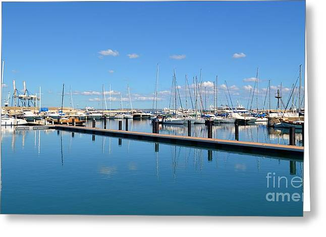 Ocean. Reflection Greeting Cards - Marina with blue sky  Greeting Card by Louiza Antoniou